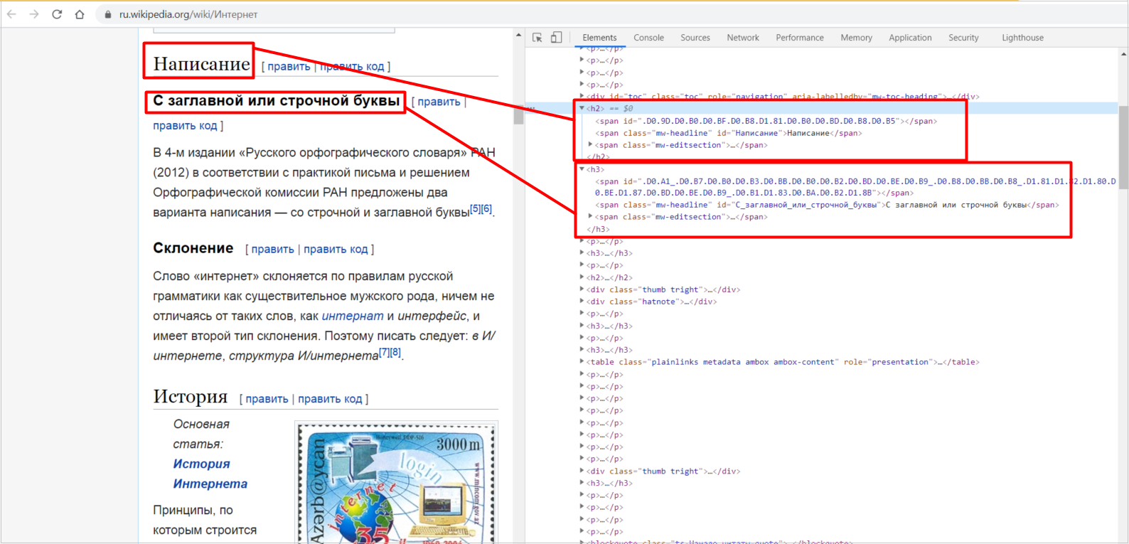 Использование заголовков H2 и H3 на странице Википедии
