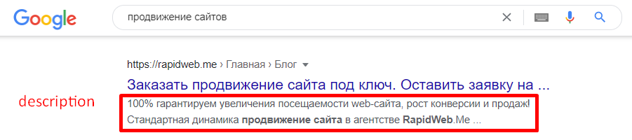 Пример дескрипшн в поисковой выдаче Google