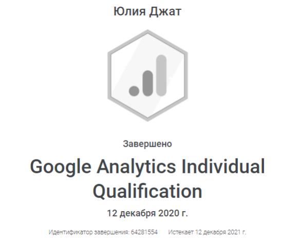 Сертификат Google Analytics Yuliya Dzhat