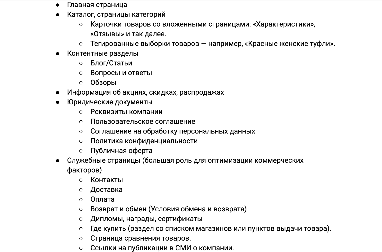 Стандартная структура интернет-магазина