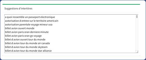 Расчет позволяет получить список заголовков с использованием лексики метамотов