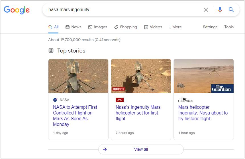 """Элемент """"Главные новости"""" Google"""